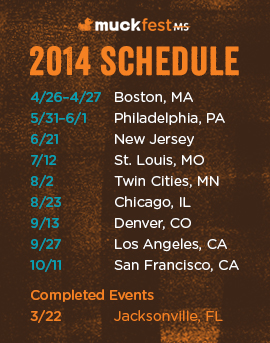 Schedule for 2014 MuckFest MS