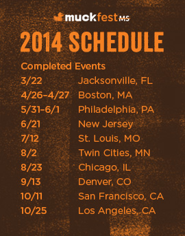 Schedule for 2014 MuckFest MS