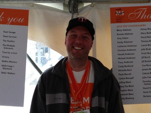 Team Victory's number one fan Chris Anderson at MuckFest MS Twin Cities 2013