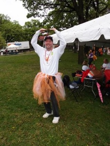 Team Victory's number one fan Chris Anderson dancing in his tutu!
