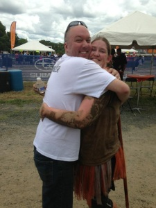 Team Victory members Chris and Haley share a mucky hug after MuckFest MS Twin Cities 2013!