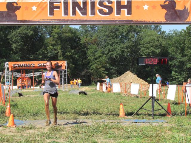 Angelena Colon cross the finish line at MuckFest MS Indianapolis 2013