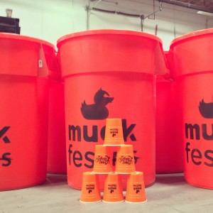 Giant beer pong at MuckFest MS