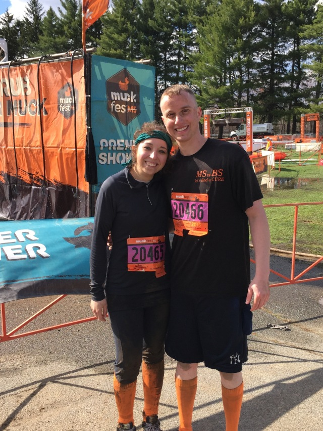 Before photo of Andrew and Christine Perna, MuckFest MS Boston muckers.