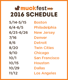 Schedule for 2016 MuckFest MS