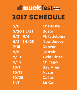 Schedule for 2017 MuckFest MS