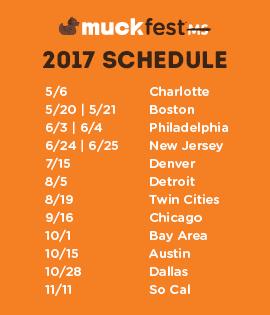 Schedule for 2017 MuckFest MS